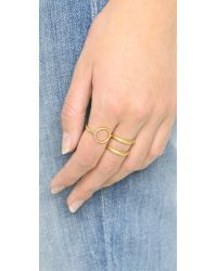 Madewell - Metallic Circle Pave Ring - Bright Ivory - Lyst