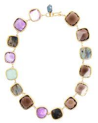 Ram   Metallic 18kt Gold Amethyst, Aquamarine, Labradorite And Smoky Quartz Necklace   Lyst