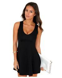 Missguided - Olisa Plunge Neck Swing Dress in Black - Lyst
