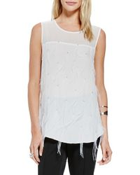 Vince Camuto | White Sheer Yoke Top With Feather Tassels | Lyst