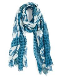 Halogen | Blue 'houndstooth Camouflage' Cotton & Wool Scarf | Lyst