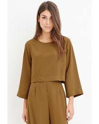 Forever 21 | Green Contemporary Dolman-sleeved Crop Top | Lyst
