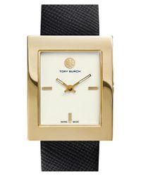 Tory Burch Metallic 'buddy Classic' Rectangular Saffiano Leather Strap Watch
