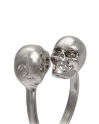Alexander McQueen | Metallic Twin Skull Brass Ring | Lyst