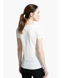 Mango White Polka-Dot Logo T-Shirt