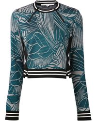 Veronica Beard Green Leaf Graphic Sweater