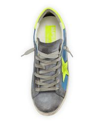 Golden Goose Deluxe Brand - Blue Star-embellished Leather Sneaker - Lyst