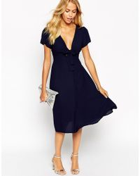Love | Blue Bow Front Midi Dress | Lyst