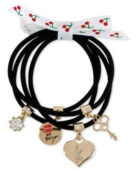 Betsey Johnson - Gold-tone Black Stretch Charm Bracelets - Lyst