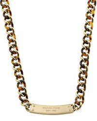 Michael Kors | Metallic Curb-Chain Plaque Necklace | Lyst