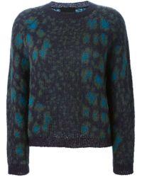 Erika Cavallini Semi Couture - Blue Crew Neck Knit Sweater - Lyst