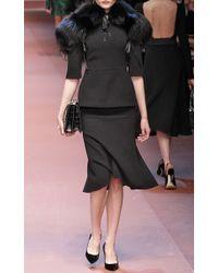 Dolce & Gabbana Black Techno Double Crepe Fluted Skirt