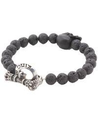 King Baby Studio - Metallic Lava Rock Bead Bracelet with Jet Skull for Men - Lyst