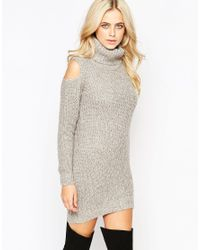 Fashion Union | Gray Roll Neck Ribbed Mini Dress With Open Shoulder | Lyst