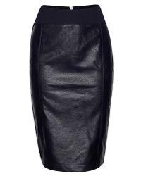 James Lakeland Black Faux Leather Zip Skirt