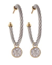 Alor | Metallic Cable-hoop Diamond-disc Earrings | Lyst