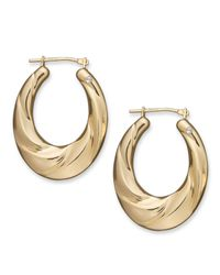 Signature Gold - Metallic Diamond Accent Oval Drape Hoop Earrings In 14k Gold - Lyst