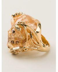 Alexander McQueen Metallic Skull Cocktail Ring
