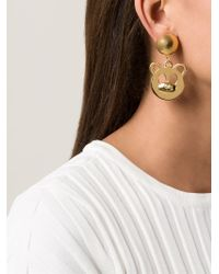 Moschino | Metallic Teddy Bear Earrings | Lyst