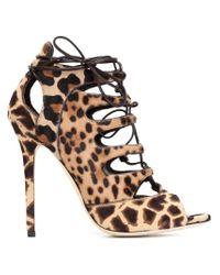 Brian Atwood Multicolor 'lea' Leopard Print Sandals