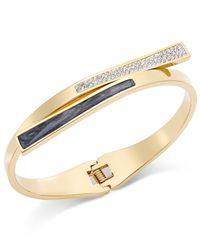 INC International Concepts | Metallic Gold-tone Crystal And Enamel Bypass Hinge Bangle Bracelet | Lyst