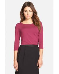 Eileen Fisher - Purple Ballet Neck Tee - Lyst