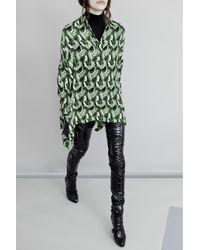 Michel Klein   Green Printed Oversize Silk Blouse   Lyst