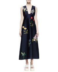 Stella McCartney - Blue Kaitlyn Floral-embroidered Shantung Midi Dress - Lyst