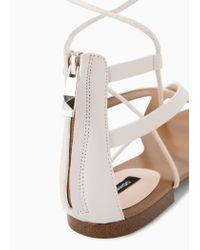 Mango White Strap Cord Sandals
