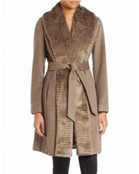 Ellen Tracy | Natural Faux Fur-trimmed Belted Coat | Lyst