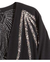 H&M Black Kimono With Beaded Embroidery