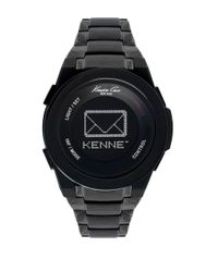 Kenneth Cole Mens Connect Black-Plated Stainless Steel Bracelet Watch for men
