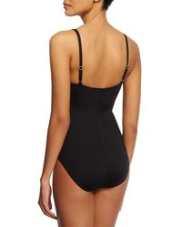 La Blanca - Black Mio Printed Ruched Sweetheart One-piece Swimsuit - Lyst