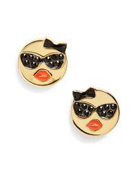 kate spade new york - Metallic 'tell All' Emoji Stud Earrings - Lyst