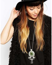 ASOS - Metallic Big Stone Charm Long Pendant Necklace - Lyst