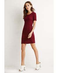 Forever 21 Purple Ribbed Knit Bodycon Dress