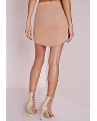 Missguided - Natural Women's Curve Hem Mini Skirt - Nude - Lyst