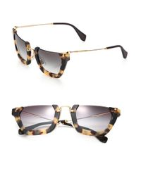 Miu Miu | Brown Semi-rim 50mm Square Sunglasses | Lyst