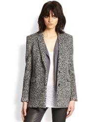 The Kooples - Black Patterned Shag-Textured Wool Jacket - Lyst