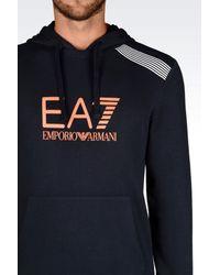 EA7 - Blue Hooded Sweatshirt for Men - Lyst