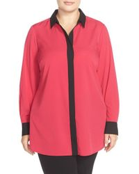 Ellen Tracy   Multicolor Contrast Trim Boyfriend Shirt   Lyst