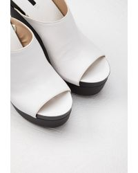 Forever 21 White Faux Leather Platform Wedges