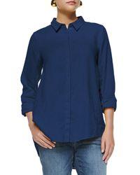 Eileen Fisher | Blue Organic Handkerchief Linen Shirt | Lyst