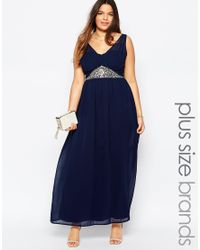Club L | Blue Plus Size Maxi Dress With Embellished Waist | Lyst