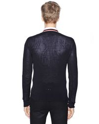 Moncler Gamme Bleu Blue Virgin Wool Cardigan for men