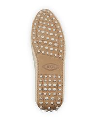 Tod's - Natural Nubuck Leather Espadrille Slippers - Lyst