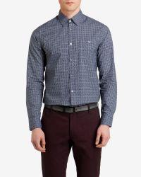 Ted Baker Blue Trammo Tile Print Cotton Shirt for men