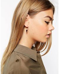 ASOS | Metallic Gold Plated Brass Triangle Through Earrings | Lyst