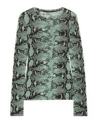 Proenza Schouler Blue Snake-Print Slub Cotton-Jersey Top