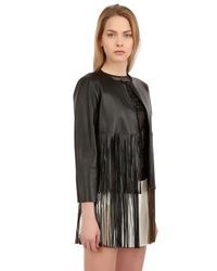 Blancha Black Fringed Laminated Nappa Leather Jacket